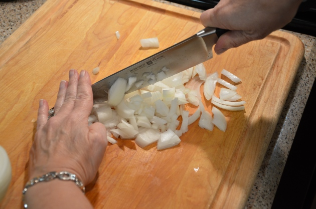 chopping onion, gumbo